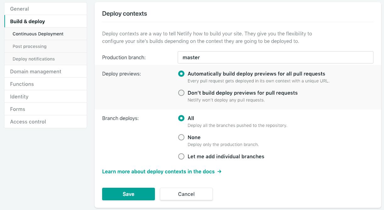 Netlify Deploy Contexts Settings