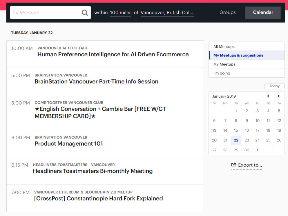 Meetup.com Calendar Search